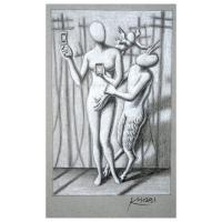 "Mark Kostabi Signed ""The Mythology Of Communication"" 12x7 Original Artwork at PristineAuction.com"