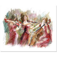 "Lena Sotskova Signed ""Concert"" 14x17 Mixed Media Original Painting at PristineAuction.com"