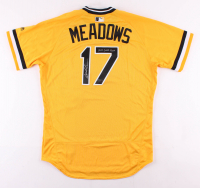 """Austin Meadows Signed Game-Used Pittsburgh Pirates Majestic Jersey Inscribed """"2018 Game Used"""" (Radtke COA & MLB Hologram) at PristineAuction.com"""