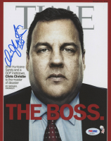 "Chris Christie Signed ""TIME"" 8x10 Cover Photo Inscribed ""NJ"" (PSA COA) at PristineAuction.com"