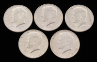 Lot of (5) 1964 Kennedy Silver Half-Dollars with (1) 1964-D