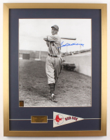 Ted Williams Signed Boston Red Sox 21x27 Custom Framed Photo Display with Vintage Mini Pennant (Williams COA)