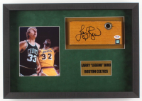 "Larry Bird Signed Boston Celtics ""Boston Garden Parquet Floor Piece"" 14.5x20.5x2 Custom Shadow Box Display (PSA COA)"