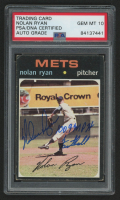 """Nolan Ryan Signed 1971 Topps #513 Inscribed """"100.9 MPH Fastball"""" (PSA Encapsulated)"""