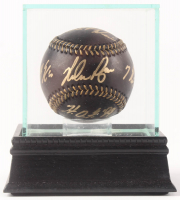 """Nolan Ryan Signed OML Black Leather Baseball Inscribed """"H.O.F. '99"""", """"7 No-Hitters"""", """"324 Wins"""" & """"5,714 K's"""" with Display Case (PSA COA)"""