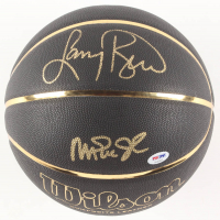 Magic Johnson & Larry Bird Signed NCAA Black Leather Basketball (PSA COA)