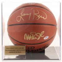 Magic Johnson & Larry Bird Signed NBA Logo Basketball with Display Case (PSA COA)