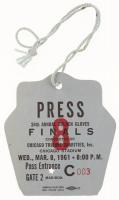 1961 Chicago Golden Gloves Finals Press Pass