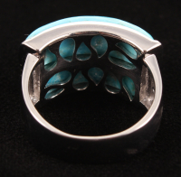 Sterling Silver 21 x 5mm Turquoise Two-Stone Band Ring - Size 8 at PristineAuction.com