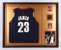 LeBron James Signed Cleveland Cavaliers 33.5x41.5 Custom Framed Jersey Display (UDA Hologram)