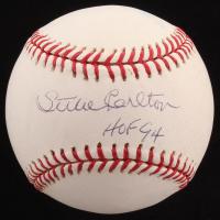 """Steve Carlton Signed OML Baseball Inscribed """"HOF 94"""" (PSA Hologram)"""