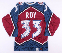 1999-2000 Colorado Avalanche Patrick Roy Jersey With Fighting Strap Team-Signed by (10) With Patrick Roy, Chris Drury, Adam Foote, Bob Hartley (PSA LOA)