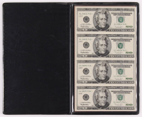 Uncut Sheet of $20 Dollar Bills United States Legal Tender Notes