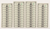 Lot of (50) 2013 Green Seal $1 One Dollar Bills with Consecutive Serial Numbers