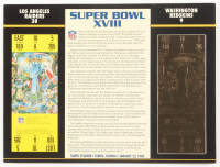 Commemorative Super Bowl XVIII 9x12 Score Card Display With 23kt Gold Ticket