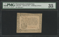 1781 - 2 Shillings, 6 Pence - Pennsylvania Colonial Currency Note - Fr#PA-247 (PMG 35)