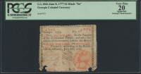 "1777 $4 Georgia Colonial Currency Note - Black ""In"" - GA-106b (PCGS 20)"