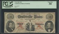 1861 $10 Ten Dollars Confederate States of America Richmond CSA Bank Note Bill (T-26) (PCGS 30)