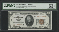 1929 $20 Twenty Dollars U.S. National Currency Bank Note - FRBN Chicago (PMG 63) (EPQ)