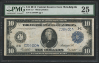 1914 $10 Ten Dollars Federal Reserve Large Size Bank Note - Philadelphia - Star Note (PMG 25)