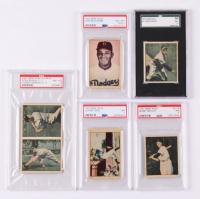 Lot of (5) Baseball Cards with 1951 Berk Ross #1-2 Bob Lemon, Doubles #2-1 Stan Musial & #2-3 Tom Henrich, #2-6 Bobby Brown & 1952 Berk Ross #42 Johnny Mize, #46 Don Newcombe