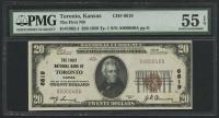 1929 $20 Twenty Dollars U.S. National Currency Bank Note - Toronto, Kansas - The First NB (PMG 55) (EPQ) at PristineAuction.com
