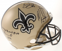 Mark Ingram, Marshon Lattimore & Marcus Davenport Signed New Orleans Saints Full-Size Authentic On-Field Helmet with (3) 1st Round Pick Inscriptions (Radtke COA & Ingram Hologram) at PristineAuction.com