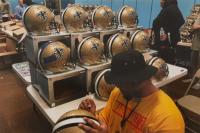 Mark Ingram, Marshon Lattimore & Marcus Davenport Signed New Orleans Saints Full-Size Authentic On-Field Helmet with (3) 1st Round Pick Inscriptions (Radtke COA & Ingram Hologram) at PristineAuction.com