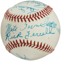 Hall of Fame OL Baseball Signed by (10) with Ted Williams, Stan Musial, Rick Ferrell, Pee Wee Reese, Johnny Mize, Enos Slaughter (Slaughter Collection LOP)