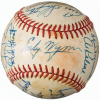1982 Inaugural Cracker Jack Old Timers Baseball Signed by (22) with Joe DiMaggio, Luke Appling, Early Wynn, Enos Slaughter, Bob Feller, Warren Spahn (Slaughter Collection LOP)
