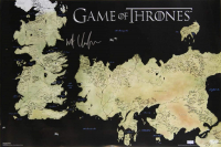 "Kit Harington Signed ""Game of Thrones"" 24x36 Westeros Map Photo (Radtke COA) at PristineAuction.com"