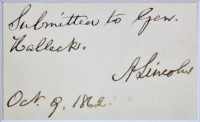 "Abraham Lincoln Signed 12x17.5 Custom Framed Cut Display Inscribed ""Submitted to Gen. Halleck"" & ""Oct. 9, 1862"" (Beckett LOA) at PristineAuction.com"