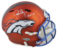 "John Elway Signed Denver Broncos Full-Size Blaze Speed Helmet Inscribed ""HOF 04"" (Beckett COA)"