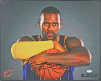 LeBron James Signed Cleveland Cavaliers 16x20 Canvas (JSA LOA)