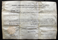 James Monroe Signed 1823 Land Grant Document (Beckett LOA)
