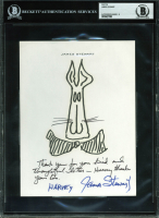 "James Stewart Signed ""Harvey"" Hand-Drawn Sketch with Inscription (BAS Encapsulated)"