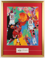 "LeRoy Neiman Signed ""Michael Jordan"" 25x32 Custom Framed Cut Display (JSA COA)"