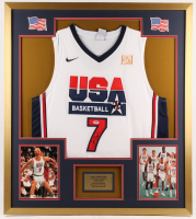 Larry Bird Signed Team USA 32x36 Custom Framed Jersey Display (PSA COA)