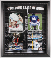 """New York State of Mind"" 27x31 Custom Framed Photo Display Signed by (4) with Derek Jeter, Lawrence Taylor, Mark Messier, & John Starks (Steiner COA)"