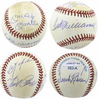 Triple Crown Winners OAL Baseball Signed by (5) with Mickey Mantle, Ted Williams, Carl Yastrzemski (Beckett LOA & UDA COA)