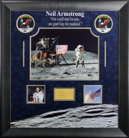 Neil Armstrong Signed Apollo 11 30.5x32.5 Framed Cut Display (Beckett LOA)
