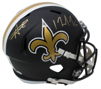 Alvin Kamara & Michael Thomas Signed New Orleans Saints Full-Size Matte Black Speed Helmet (JSA COA)