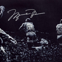"Michael Jordan Signed Chicago Bulls ""Kiss the Rim"" 18x36 Limited Edition Photo (UDA COA) at PristineAuction.com"