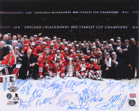 2015 Chicago Blackhawks Team Signed Stanley Cup 16x20 Photo Signed By (23) with Patrick Sharp, Brandon Saad, Andrew Shaw, Scott Darling, Marian Hossa, Joel Quenneville  (YSMS LOA) at PristineAuction.com