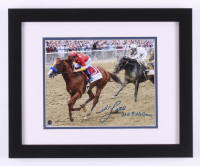 "Mike E. Smith Signed 2018 Belmont Stakes 13x16 Custom Framed Photo Display Inscribed ""2018 Triple Crown"" (Steiner Hologram)"