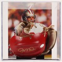 Joe Montana Signed Vintage Football Shoulder Pads with Display Case (JSA COA)