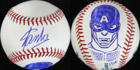 Stan Lee & Dietrich O. Smith Signed OML Baseball with Captain America Sketch (PSA COA)