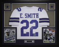 Emmitt Smith Signed 35x43 Custom Framed Jersey (PSA COA & Smith Hologram) at PristineAuction.com