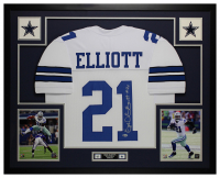 Ezekiel Elliott Signed 35x43 Custom Framed Jersey (Beckett COA) at PristineAuction.com