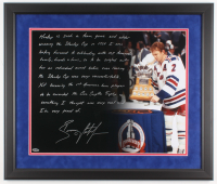 Brian Leetch Signed New York Rangers 22x26 Custom Framed Photo with Extensive Inscription (Steiner COA)